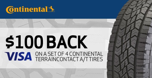 $100 back on the Continental TerrainContact A/T for October 2018