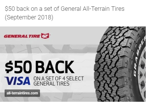 $50 back on General All-Terrain tires for September 2018