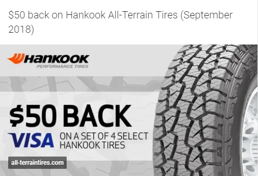 $50 back on Hankook All-Terrain Tires for September 2018