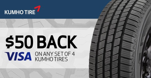 $50 back on Kumho All-Terrain Tires for October 2018