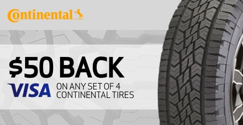 $50 back on Continental TerrainContact A/T All-Terrain Tires for January 2019