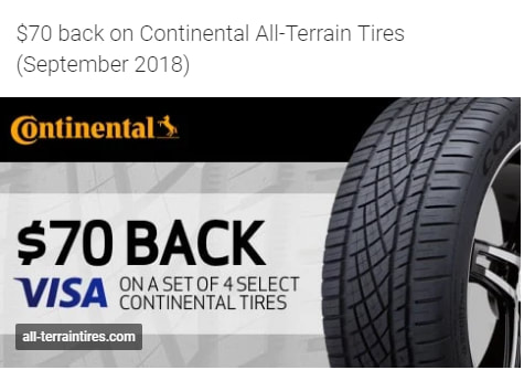 $70 back on Continental All-Terrain tires for September 2018