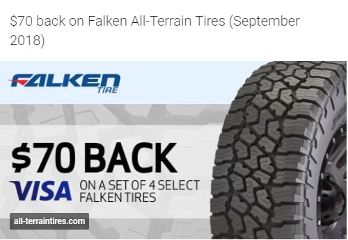$70 back on Falken All-Terrain Tires for September 2018