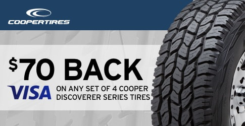 $70 back on Cooper Discoverer All-Terrain Tires for August-September 2018