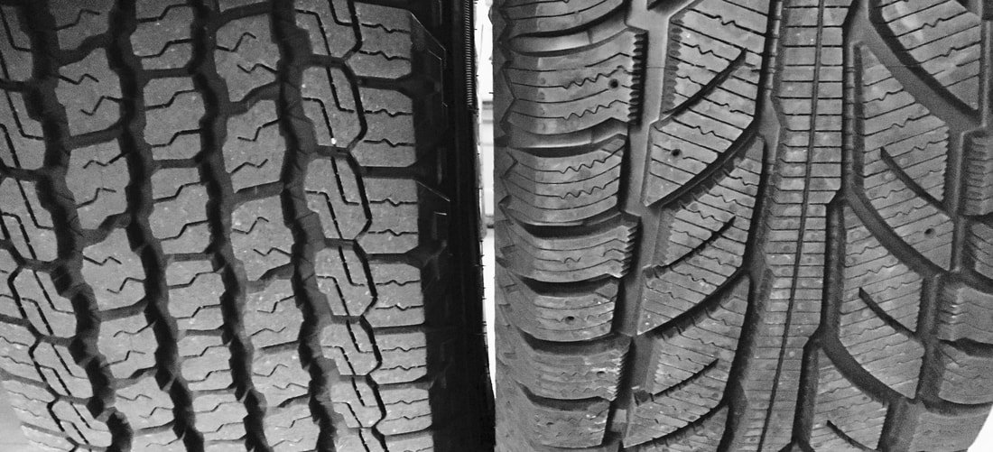 All-Terrain Tire and Winter Tire side by side