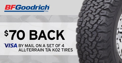 $70 back on the BF Goodrich All-Terrain T/A KO2 (August 2018)